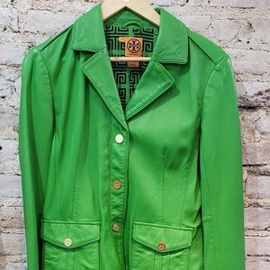 Tory burch green leather jacket